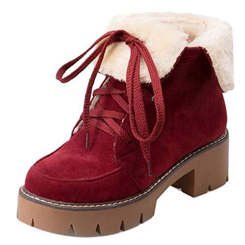 Moda Stivali A Blocco Rosso Donne Tacco RAZAMAZA Martin Stringate Boots 5AyqXpxcn