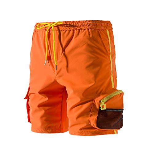 - degasAdG_Men Trousers Men Shorts Pants - Male Fashionable Pure Color Button-Pocket Overalls Wind Short Pants Summer Casual (Orange, XXXL)