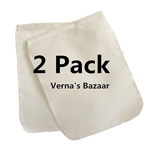 Verna's Bazaar Nut Milk Bag 2 Pack! Commercial Quality & Reusable - 12