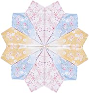 Houlife 100% 60s Combed Cotton Floral Printed Handkerchief Elegant Hankies for Women Girls