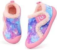 Crova Boys Girls Warm Winter Flat Shoes Ultra Light Slip Resistant Fur Lined Indoor House Slippers (Toddler/Li