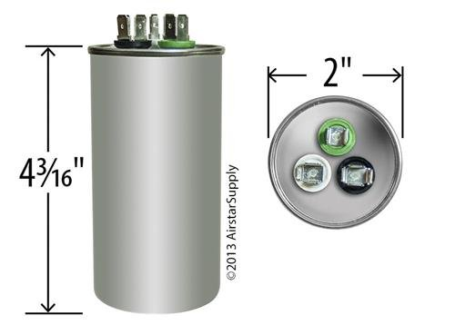 30 + 5 uf / Mfd Round Dual Universal Capacitor • AmRad USA2226 - used for 370 or 440 VAC , Made in the U.S.A.