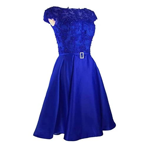 d6f17b8e52c Fanhao Women s Bateau Neck Lace Beading Pockets Short Wedding Gown Bridal  Dress 50%OFF