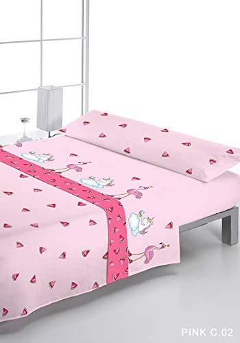 Pink Color 02 Rosa Medida Cama DE 105cm Reig Mart/í Juego DE S/ÁBANAS Estampado 3//Piezas Modelo