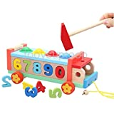 MAZIMARK--Childrens Wooden Pull-Along Shaper Sorting Numbers Truck Car Kids Sorter Toy