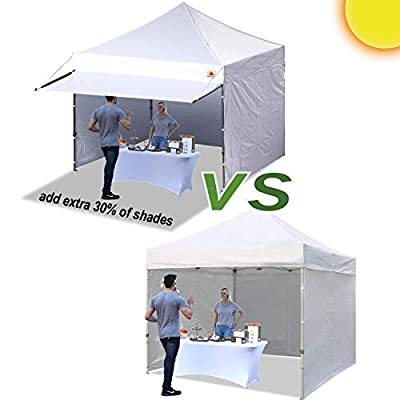 ABCCANOPY 10x10 Pop up Canopy Tent Commercial Portable Market Canopy with 4 Removable Zipper End Side Walls & Wheeled Bag, Bonus 4 Sand Bags & 23 Square Feet of Awning by ABCCANOPY
