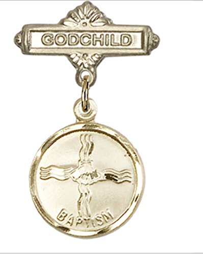 Beautiful Gold Filled Baby Badge with Baptism Charm and Godchild Badge Pin. Gift Boxed by Religious Faithful Gifts