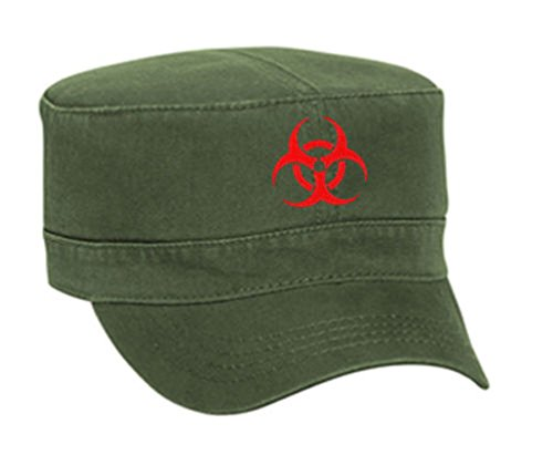 (Biohazard Symbol Zombie Outbreak Embroidered Military Cap Hat - Military Green - OSFA)