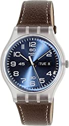 Swatch Daily Friend Blue Dial Plastic Brown Leather Quartz Men's Watch SUOK701