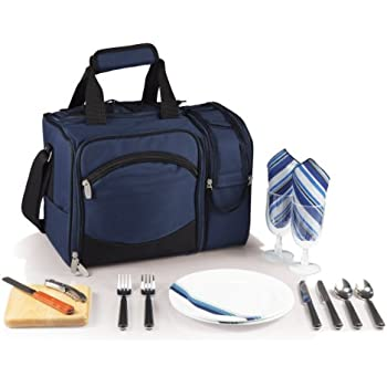 Picnic Time 'Malibu' Insulated Cooler Picnic Tote with Service for 2, Navy Blue