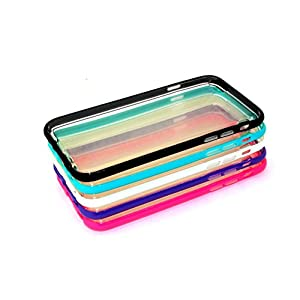 "iPhone 6S 6 Case, or iPhone 6S Plus Soft Case, [5Pack / Lot] Colorful Soft Bumper Slim Clear Transparent Back Cover Case Flexible Silicone Back Case Cover (4.7"" Size: Teal, Black, Purple, White, Pink)"