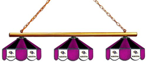 Baltimore Ravens Stained Glass - Imperial Officially Licensed NFL Merchandise: Tiffany-Style Stained Glass Billiard/Pool Table 3 Shade Light, Baltimore Ravens