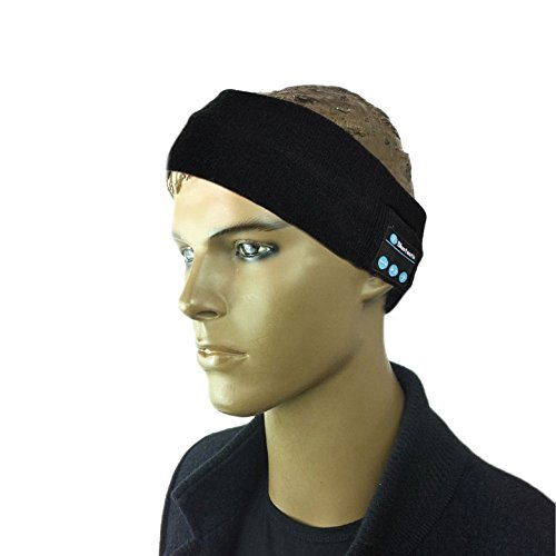 2.4 Ghz 4 Handset (Megadream Rechargeable Indoor and Outdoor Bluetooth Headset Earphone Hands- free Music Play Headband Head wrap Cap for Sports Exercise Training Compatible for All Bluetooth Enable Devices (Black))