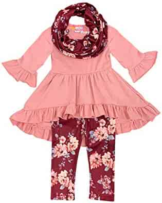 a5d3c167e1cb Angeline Boutique Clothing Girls Fall Winter Color Outfit Set with Scarf -  Halloween Thanksgiving
