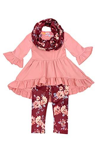 Toddler Little Girls Fall Colors Vintage Floral Top Legging Scarf Set Rose Brown ()