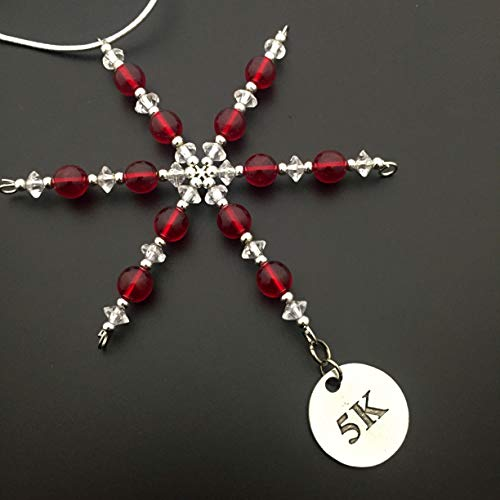 5K Ornament - Beaded Snowflake 5K Christmas Ornament/Gift Tag with Round Pewter 5K Charm with Jewelry Box - Handmade with Red Vintage Beads -