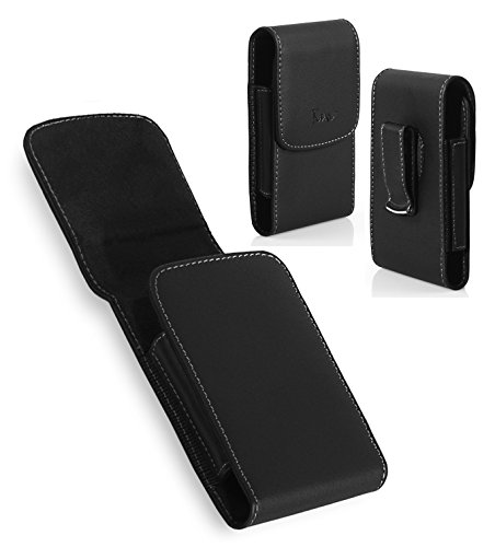 BlackBerry Pearl Flip 8220 Case, TMAN Premium Vertical Leather Pouch Carrying Case with Belt Clip Belt Loops Holster for BlackBerry Pearl Flip 8220 (Fits with Silicone Case and Thin Protective Case) (8220 Holsters Leather Swivel)