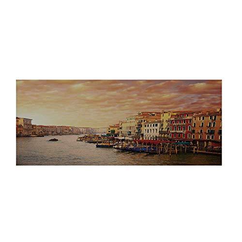 (TecBillion Scenery Decor Beautiful Floor Sticker,Venezia Italian Decor Landscape with Old Houses Gondollas and Spikes Image for Indoor Floor,47.2