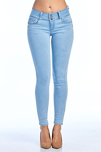 TwiinSisters Womens Amazing Butt Lift Mid-Rise Stretch Denim Skinny Jeans with Comfort Stretch