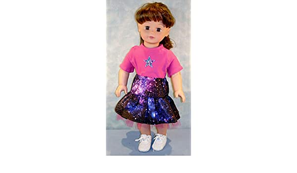Galaxy on Black Skirt with Tulle Ruffles and Pink T Shirt handmade by Jane Ellen 18 Inch Doll Clothes