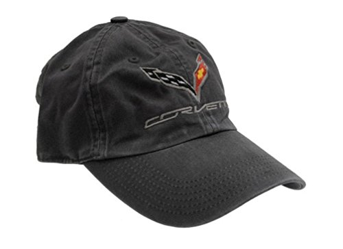 (C7 Corvette Logo - Premium Garment Washed Cap/Hat (Black))