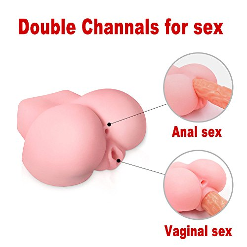 JBDK 3D Lifelike Masturbator Sex Toy for Men from Soft Squeezable Silicone Realistic Male Love Doll with Inviting Vagina and Anal Opening 3 Sizes (Anal Toys, 6.5×6×3.3 in)