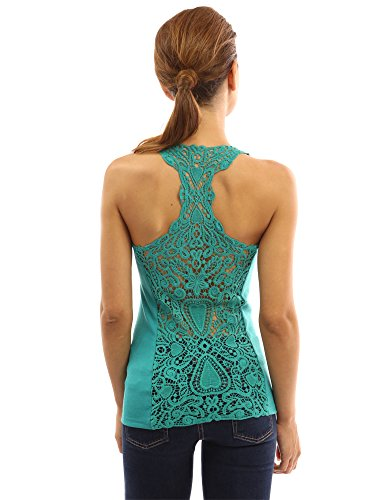 PattyBoutik Women's Crochet Lace Racerback Tank Top (Turquoise S) - Turquoise Sleeveless Top