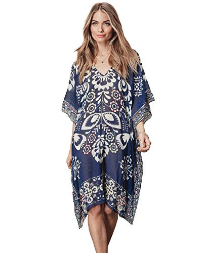 QBSM Women's Summer Swimsuit Bikini Swimwear Cover Ups Sexy Chiffon Beach Dress Swim Wear Bathing Suit Coverup, Blue ()