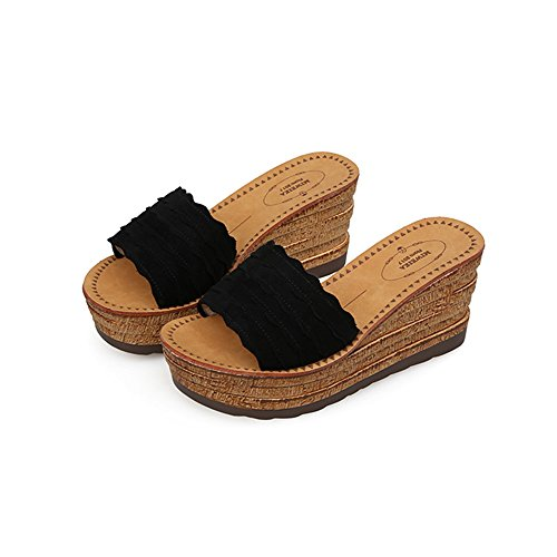 Sandals Open Female Shoes Color EU36 UK4 Bottom CN36 A Wedges Women's Size Summer ZHIRONG Fashion Casual High Thick B Heel Toe Slippers fzwtUrfq