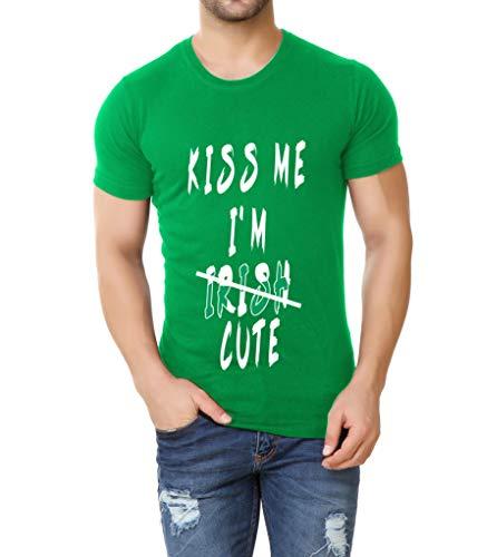 Kiss Me I'm Cute Funny Shirt - Mens St Patrick Irish Green T Shirt (L) ()