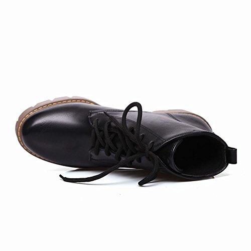 Latasa Kvinna Mode Platfom Chunky Klackar Ankel Höga Oxford Boots Svart