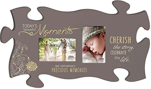 - P. GRAHAM DUNN Beautiful Moments Memories Grey Floral 13 x 22 Wall Hanging Double Photo Puzzle Piece Frame