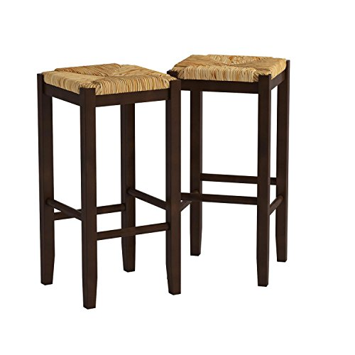 Bar Stool, 29-Inch Rush Seat Walnut Finish Set Of 2