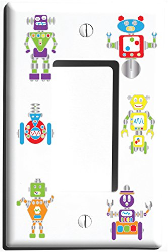 Robot Light Switch Plate and Outlet Covers / Robots Nursery or Children's Wall Decor (Single Rocker)