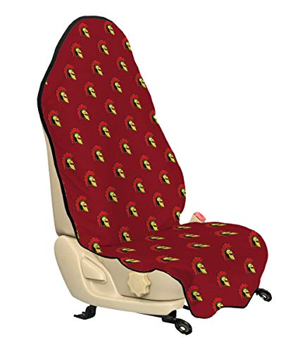 Lunarable Spartan Car Seat Cover, Antique Ancient Warrior Motifs Cartoon Style Equipment Design Print, Car Truck Seat Cover Protector Nonslip Backing Universal Fit, Ruby Vermilion Yellow