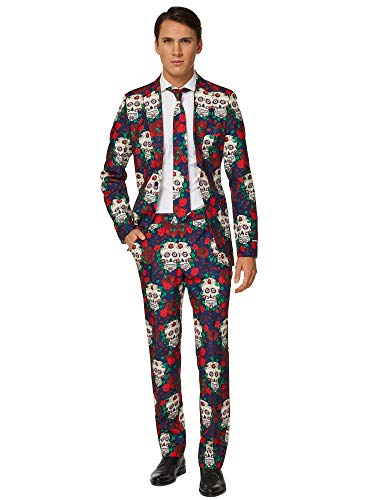 Suitmeister - Day of The Dead - Halloween Suit for Men in Stylish Print - Full Set: Includes Jacket, Pants and Tie - M