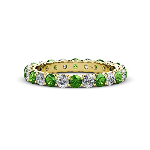 Green Garnet & Diamond 3mm Shared Prong Eternity Band 2.16 ct tw-2.59 ct tw in 14K Yellow Gold.size 4.25
