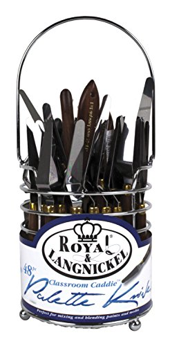 Royal Brush Stainless Steel Flexible Palette Knives Classroom Caddy Set with 24 Straight 24 Trowel, Set of 48 (Trowel Palette)