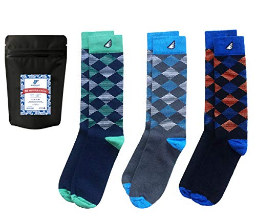 Mens Argyle Dress Socks Fun Colorful Gift 3-Pack Awesome Happy, Made in - Replacement 1014