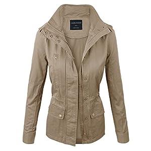 makeitmint Women's Zip Up Military Anorak Jacket w/Pockets 2XL YJZ0005_Beige