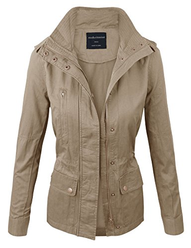 Makeitmint Women's Zip Up Military Anorak Jacket w/ Pockets Large Beige
