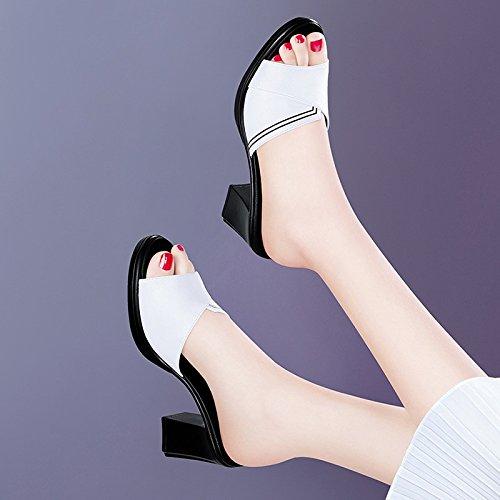 Jqdyl Tacones Nuevas Zapatillas de Tacón Alto Moda Femenina de Verano Desgaste Salvaje de Espesor con el Verano al Aire Libre, 40, Blanco white