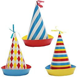 Party Partners Design Retro Big Top Circus Themed Hats, Blue/Red, 6 Count