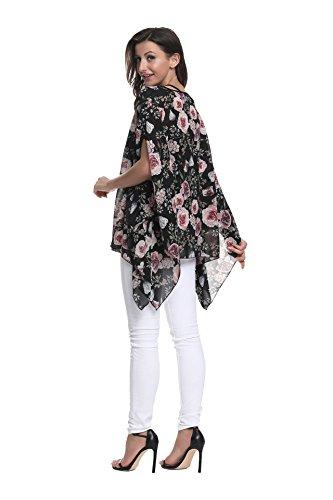 Chemise Plus Porter pour Style Size dcontract de Plage 10030 Boho Femmes Les Couleurs Soie Mousseline OKSakady Shirt 6 en T lache Tops Style 7qdnU7wI