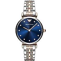Emporio Armani Women's Dress Quartz Watch with Stainless-Steel Strap, Silver, 14 (Model: AR11092