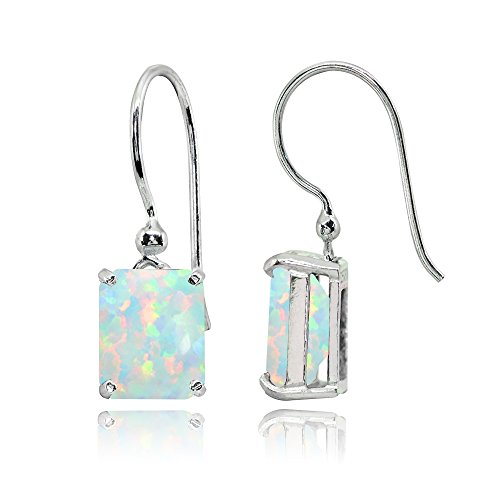 Sterling Silver Simulated White Opal Octagon-Cut Solitaire Drop Dangle Earrings for Women
