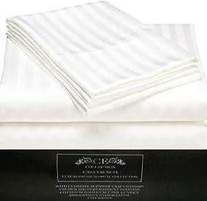CE CASA ESENCIA Luxury 100% Egyptian Cotton Sheets 1000 Thread Count 4 Piece Extra Deep Pocket Bed Sheet Set Sateen Stripe (King, White)