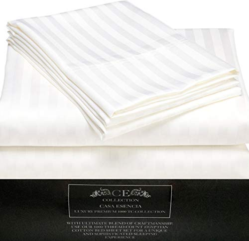 CE CASA ESENCIA Luxury 100% Egyptian Cotton Sheets 1000 Thread Count 4 Piece Extra Deep Pocket Bed Sheet Set Sateen Stripe (King, White) ()