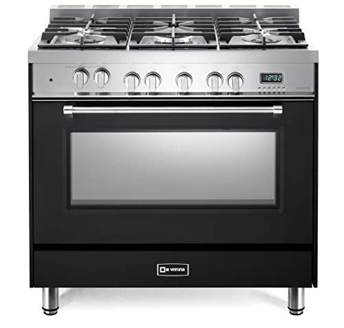 Verona Prestige Series VPFSGE365E 36 inch. Dual Fuel Range Convection 5 Sealed Burners Storage Drawer Matte Black