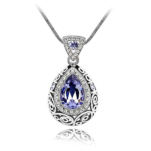 nd Accent Teardrop Water drop Pendant Chain Necklace for Women, with a Gift Box, Made with SWAROVSKI Crystal, Amethyst (Diamond Teardrop Pendant Chain)